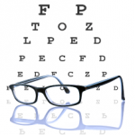 eye chart + glasses